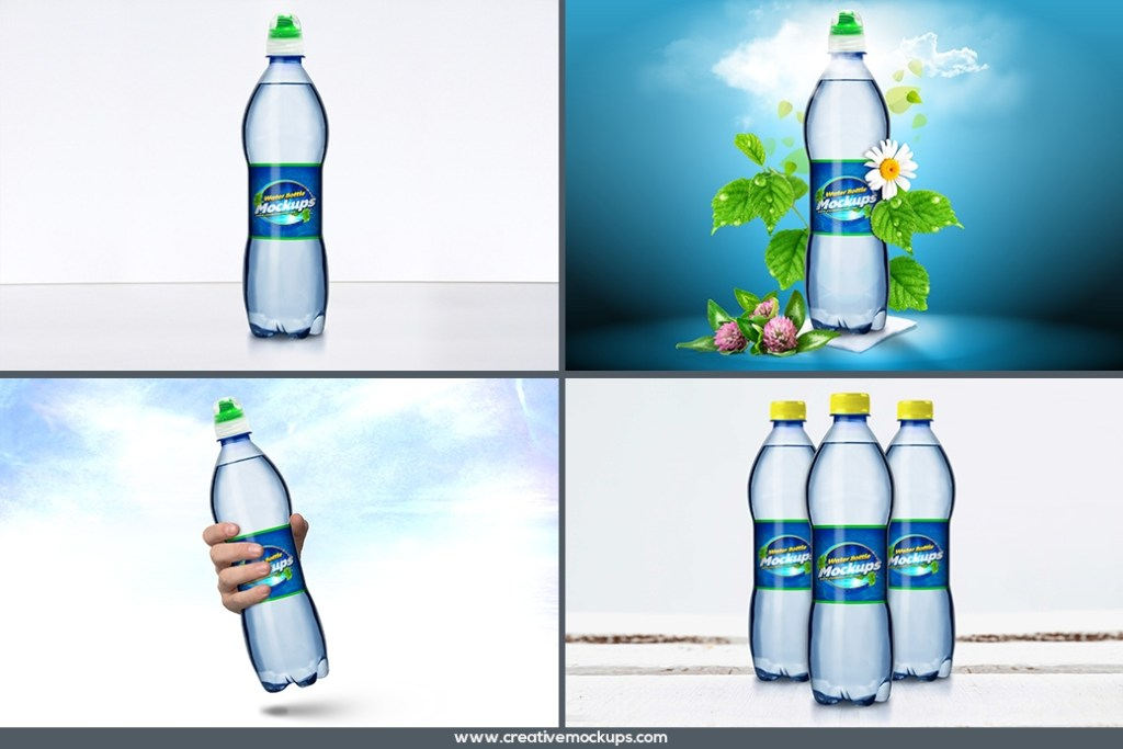 water bottle mockup psd template creative mockup