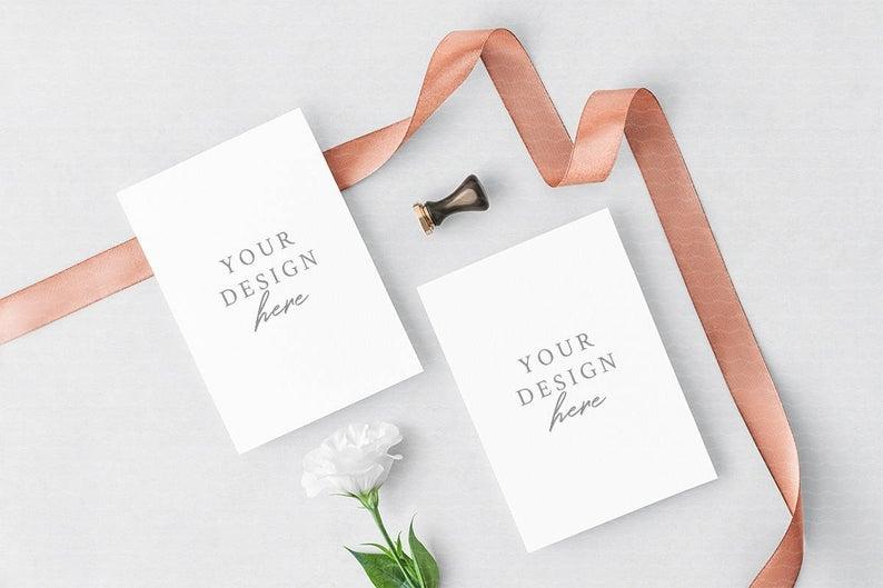 wedding invitation mockup greeting cards mockup floral etsy