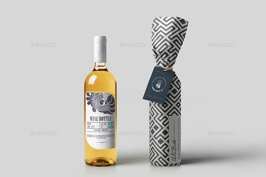 white wine bottle mock up makistse graphicriver