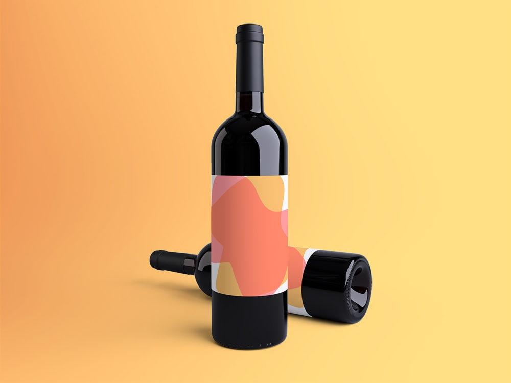 wine bottle mockup free mockup