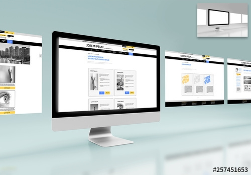 4 web pages on a desktop computer mockup buy this stock template