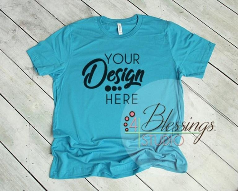 aqua t shirt bella canvas mockup 3001 aqua unisex shirt tshirt flat shirt mockup flat lay mens shirt mockup printful mockup turquoise teal