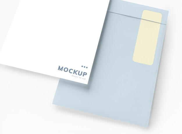 business document and envelope mockup psd file free download