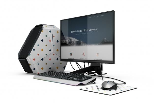 free gaming computer mockup in psd designhooks