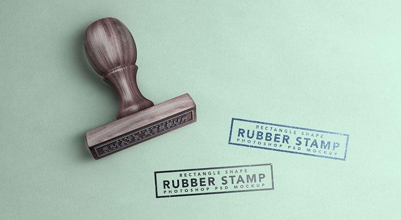 free wooden rectangle rubber stamp mockup psd designbolts