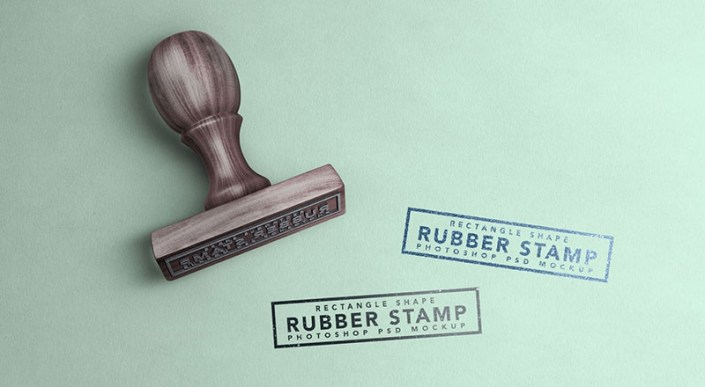 free wooden rectangle rubber stamp mockup psd designbolts