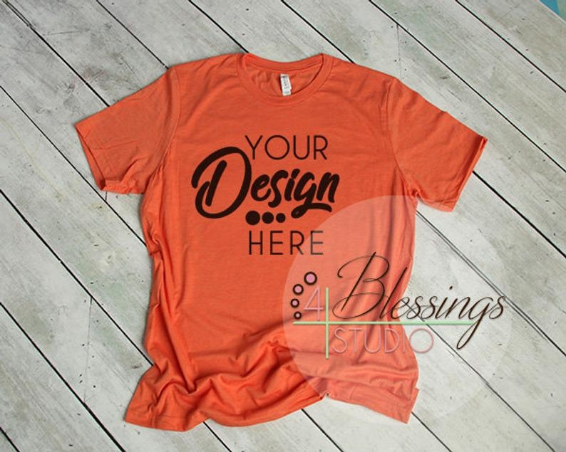heather orange t shirt bella canvas mockup 3001 heather orange unisex shirt tshirt flat shirt mockup flat mens shirt mockup printful mockup
