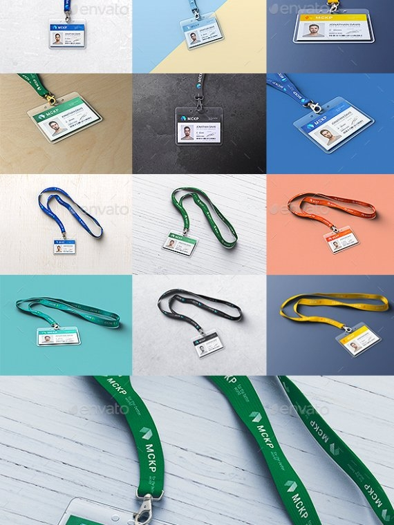 lanyard id card holder mockup