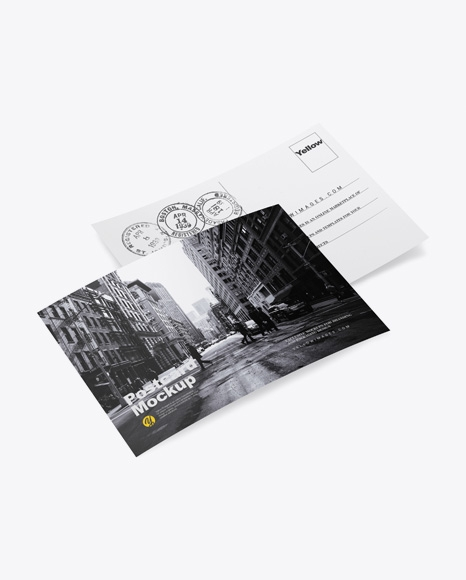 paper postcards mockup in stationery mockups on yellow images