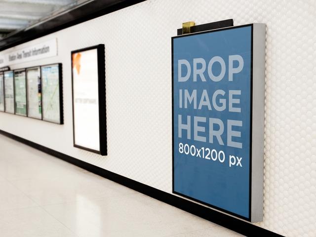 placeit print ad mockup billboard on a subway corridor wall