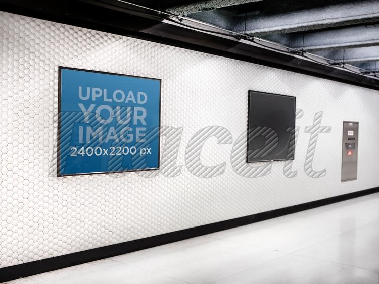 squared poster on subway corridor