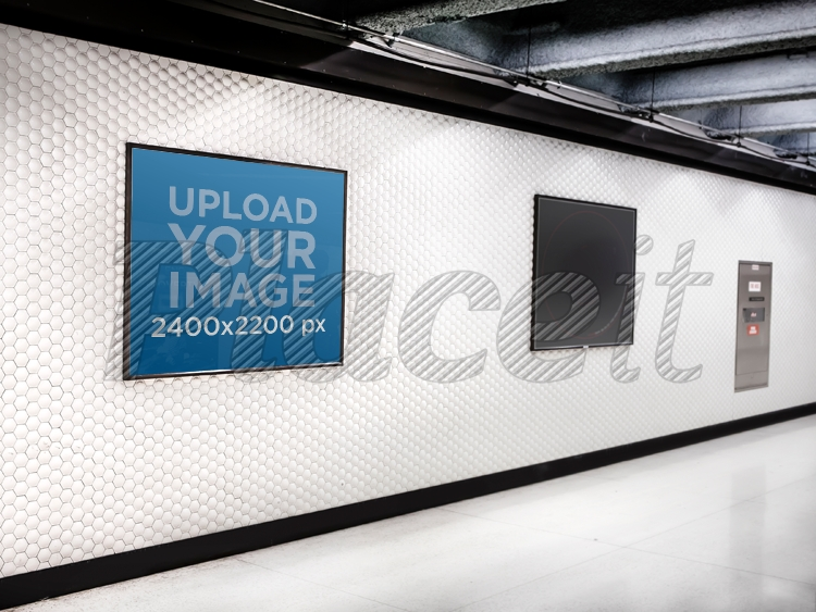 squared poster on subway corridor