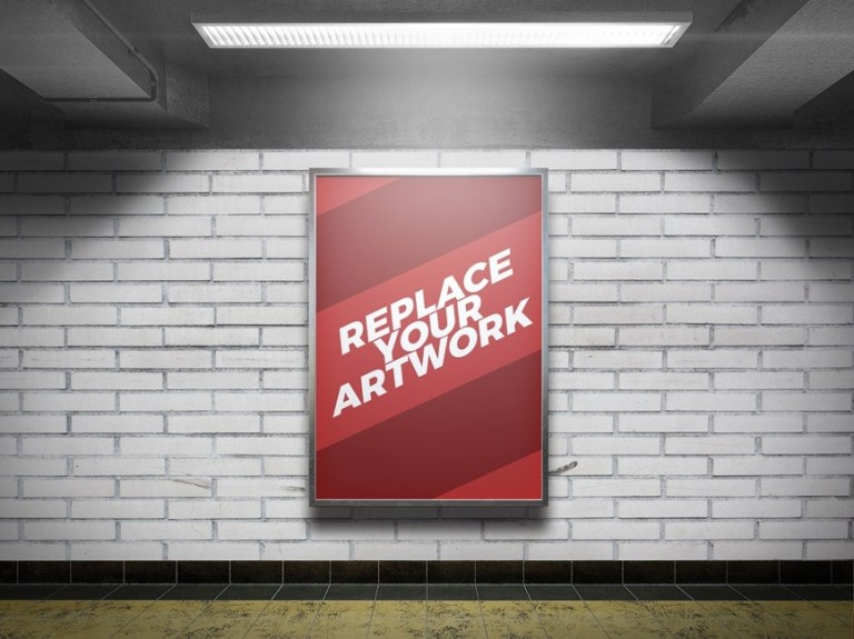 subway station advertising display mockup mockup love