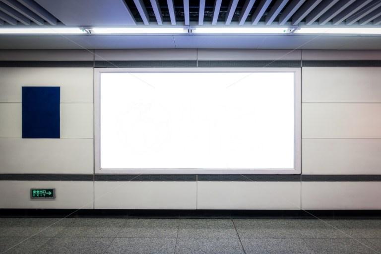 urban subway underground billboard rectangular white mockup city advertisement in xian china