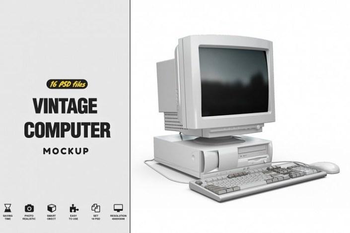 vintage computer mockup