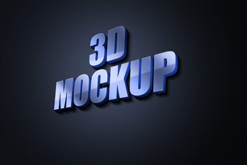 3d glow free logo mockup