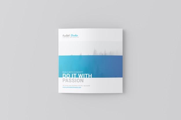 4 fold brochure mockup square psd file premium download