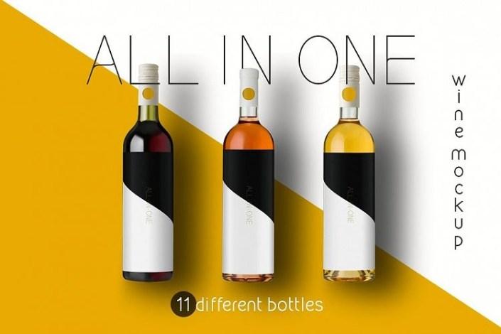 all in one wine bottle mockup
