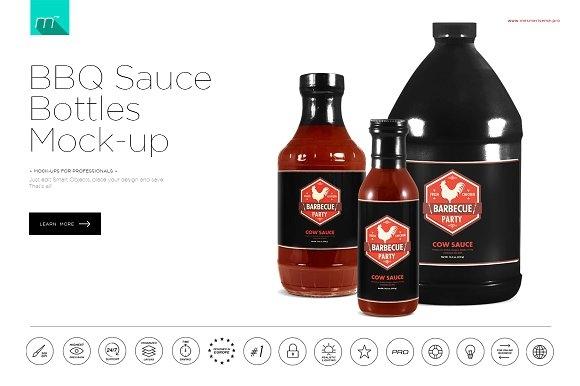 bbq sauce bottles mockup