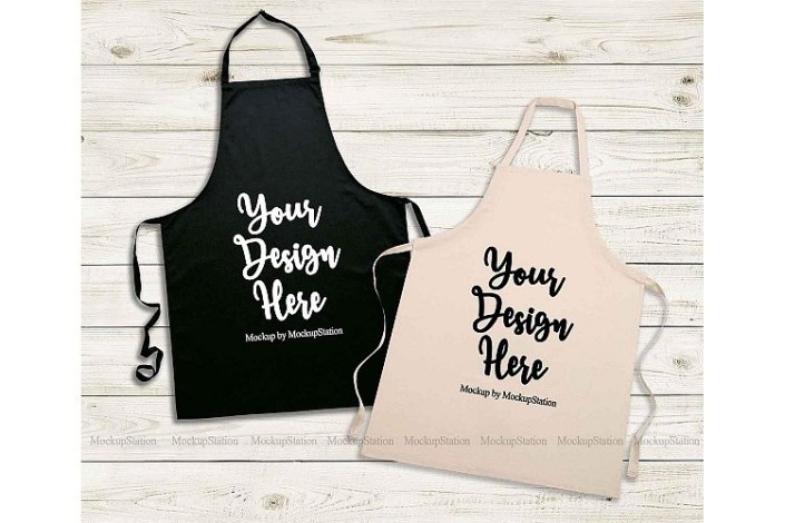 black apron mockup natural beige apron template mock up