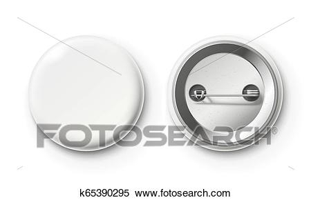 blank button badge white pinback badges pin button and pinned back realistic isolated vector mockup clipart