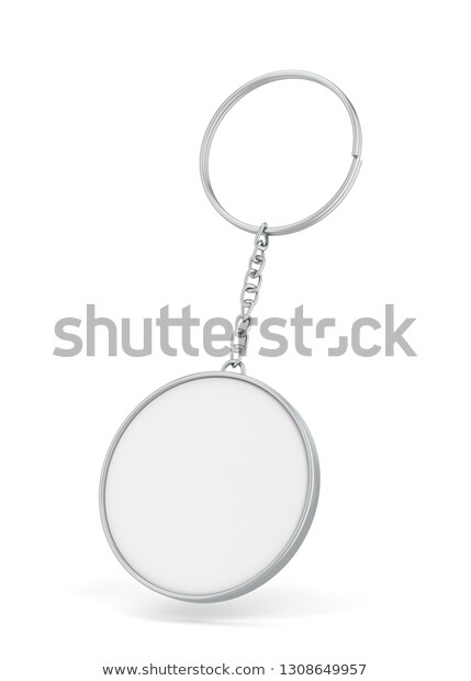 blank metallic keychain mockup 3d illustration stock illustration