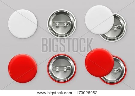 blank white and red badges pin button 3d vector realistic mockup poster