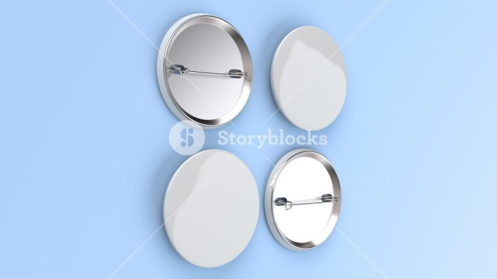 blank white badge on blue background pin button mockup 3d