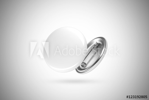 blank white button badge mockup isolated clipping path 3d