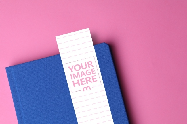 bookmark on notebook mockup template mediamodifier