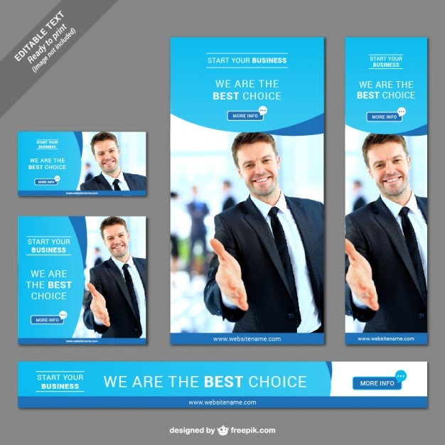 business web banner set vector free download