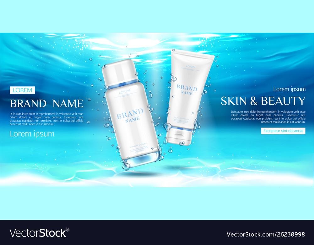 cosmetics bottles mockup on underwater surface