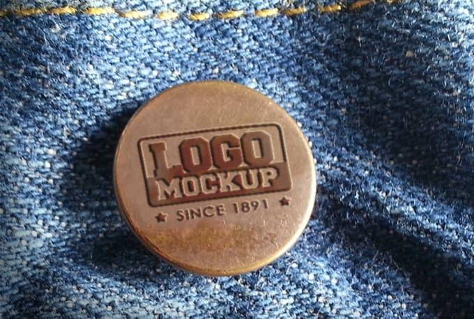 create a jeans button logo mockup