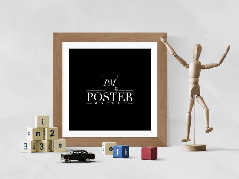 creative antique square poster frame mockup free poster
