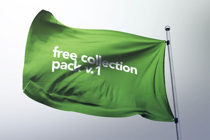 download this flag mockup free psd for your presentation