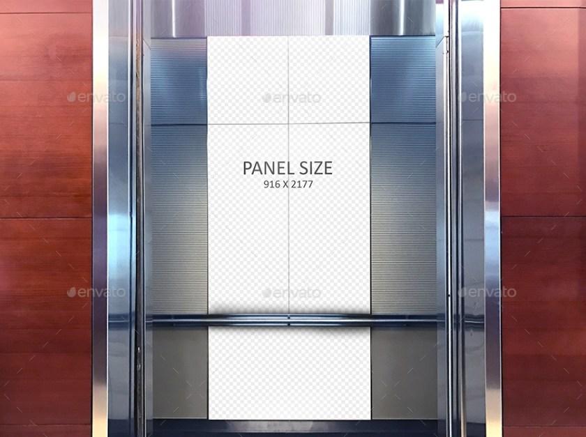 elevator ad mural psd mockup