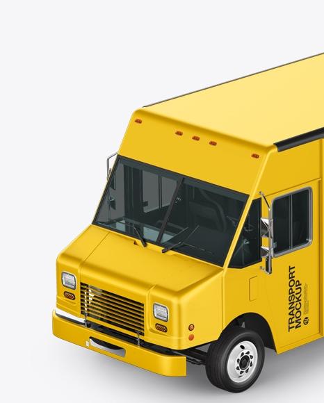 food truck mockup left half side view mockup psd template free