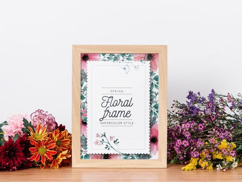 frame mockup between flowers free mockup