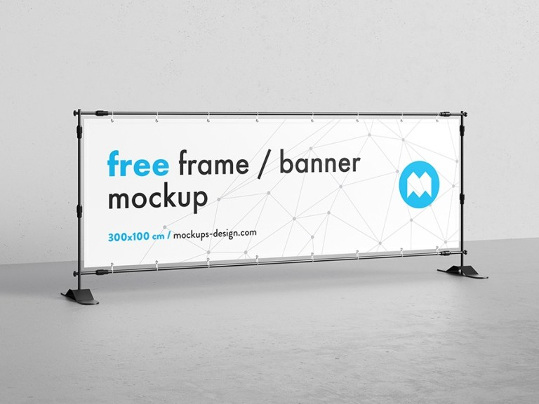 free banner frame stand mockup 300 x 100cm mockups design