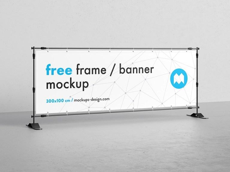 free banner frame stand mockup 300 x 100cm mockups