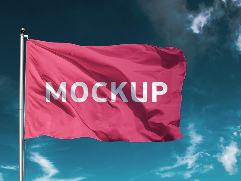 free flag mockup psd mockuplove