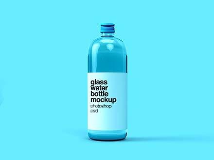 free glass water bottle mockup psd
