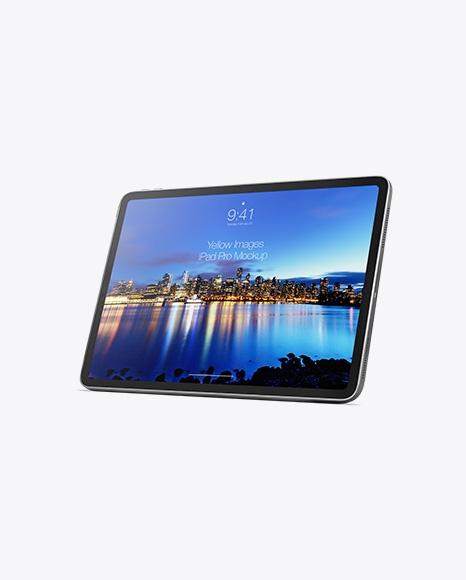 free ipad pro horizontal mockup half side view all psd