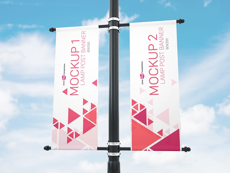 free lamp post banner mock up in psd mockupfree on dribbble