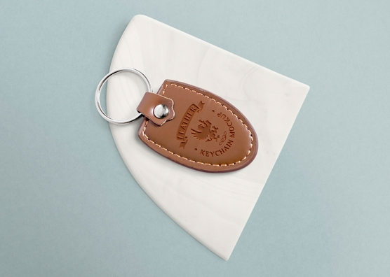 free leather keychain mockup with changeable marble base zippypixels