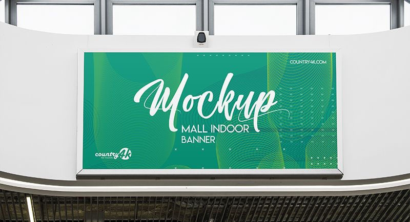 free mall indoor banner mockup freemockup