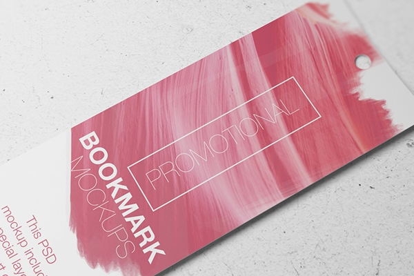 free psd promotional bookmark mockup on pantone canvas gallery