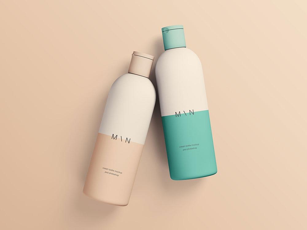 free two cosmetic bottles mockup mockuptree