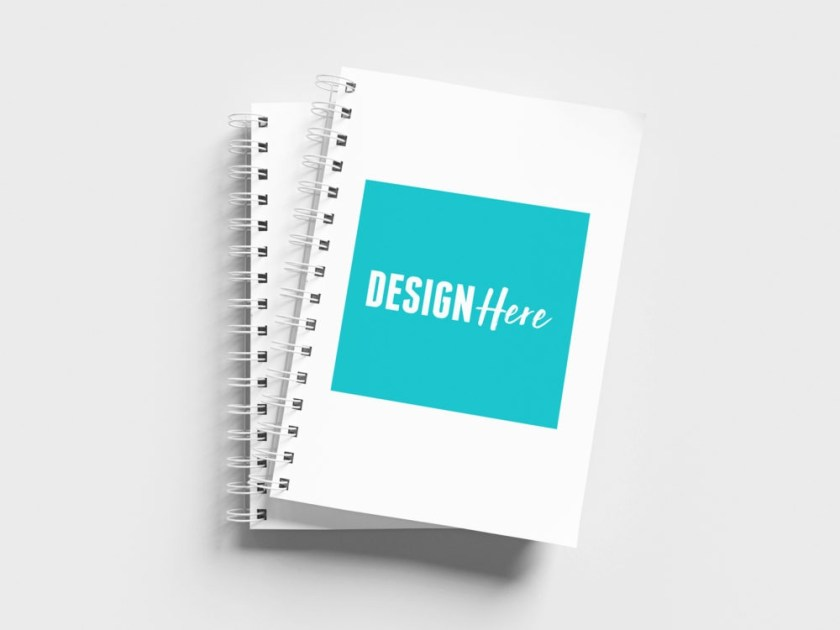 free wire bound notebook mockup psd mockup template