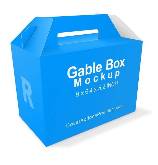 gable box mockup v1 cover actions premium mockup psd